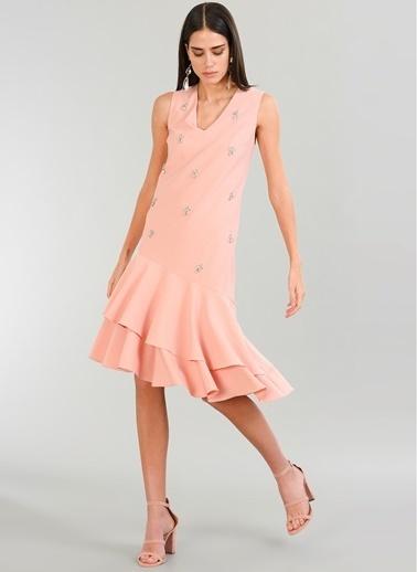 People By Fabrika Taşlı Elbise Pembe